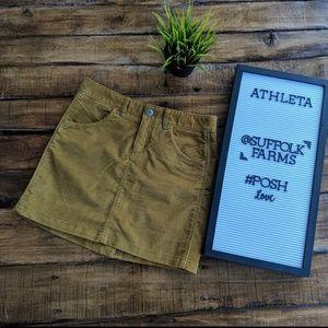 Athleta Kaleidoscope Cord Mini Skirt in Old Gold